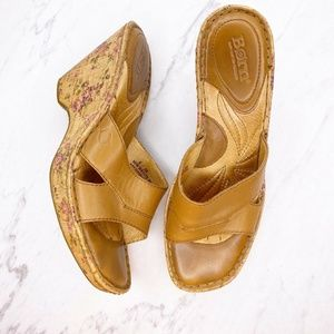Born Brown Leather Shoes Floral Wedge Heels Sandal